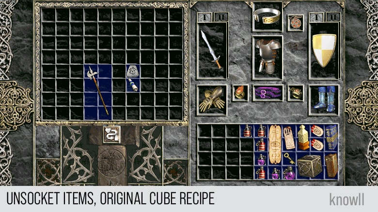 Unsocket items, original cube recipe