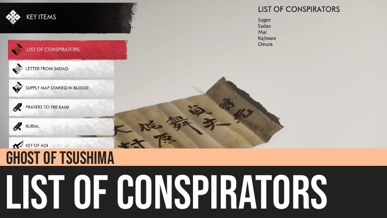 Ghost of Tsushima: List of Conspirators