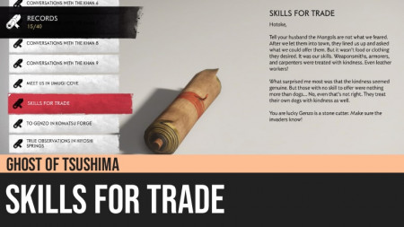 Ghost of Tsushima: Skills for Trade