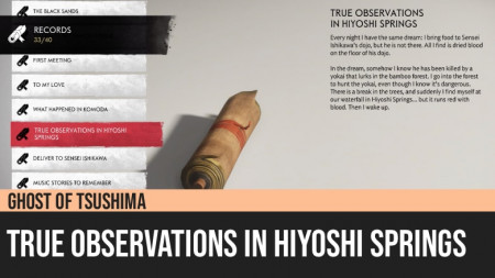 Ghost of Tsushima: True Observations in Hiyoshi Springs